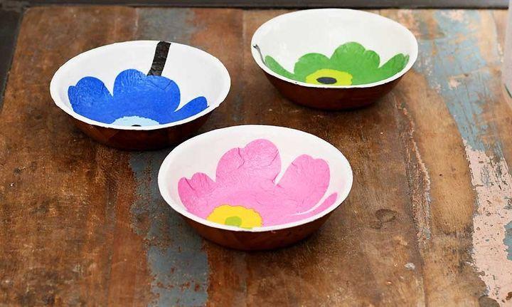 bright colourful marimekko wooden bowls upcycle
