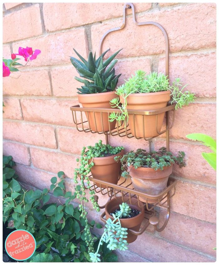 use a shower caddy as wall planter
