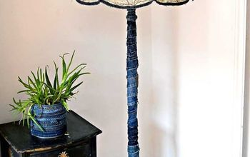 unique upcycled map and denim lamp