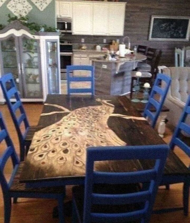 peacock designed table and chairs