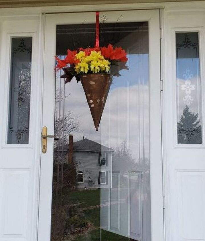 front door decor from a thrift store find