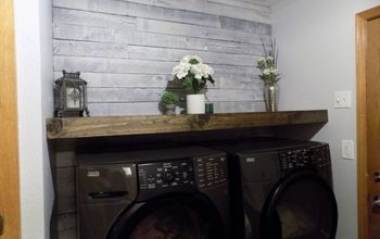 diy floating wood shelf laundry room