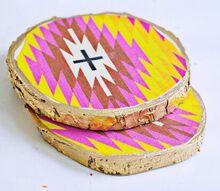 decoupaged wood coasters