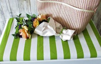 Green and White Striped Bench