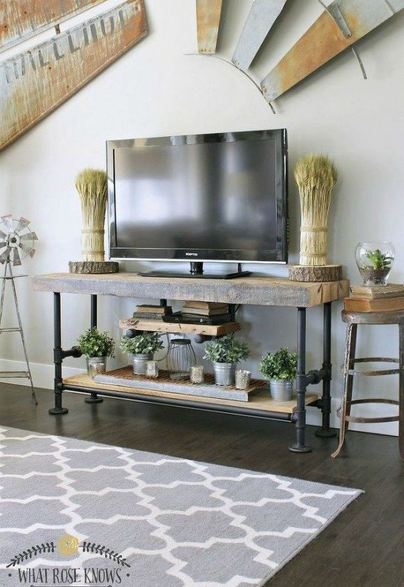 s the 15 coolest ways to reuse pipes in your home decor, Pair it up with your rustic wood furniture