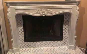 Fireplace Facelift- Painted & Stenciled Tile & Granite