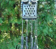 repurposed kitchen junk owl wind chime