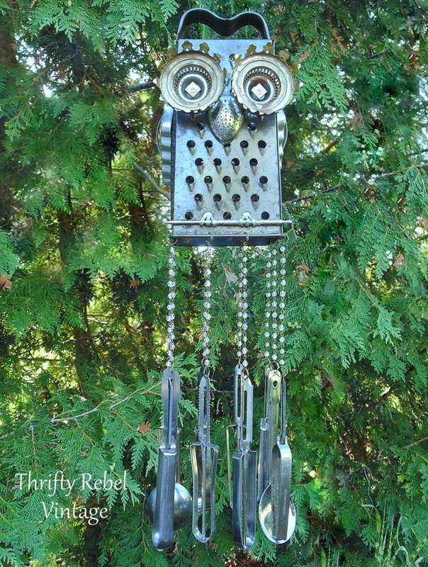 repurposed kitchen junk owl wind chime
