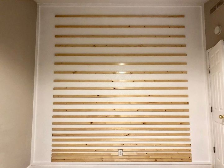 staggered bedroom wood accent wall