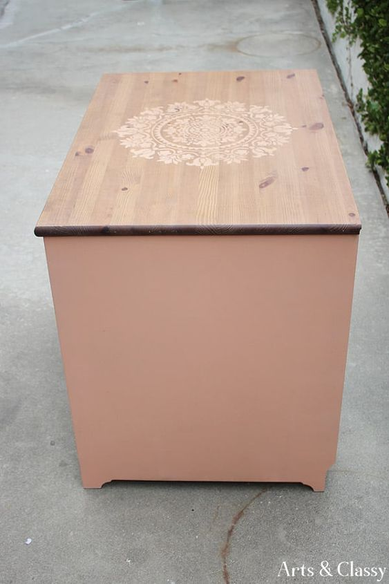 curbside find colorful stenciled cabinet makeover