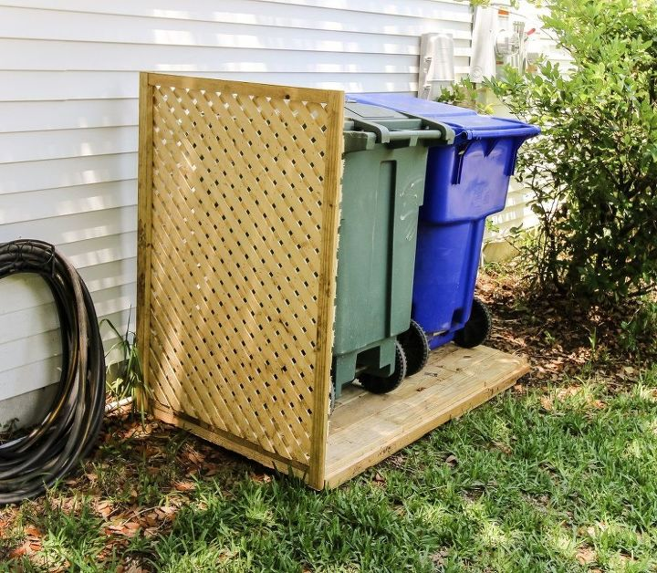 simple diy way to hide your trash cans