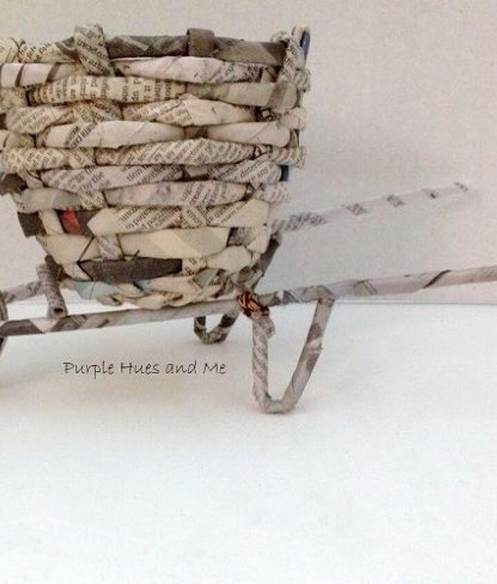 newspaper flower basket cart diy