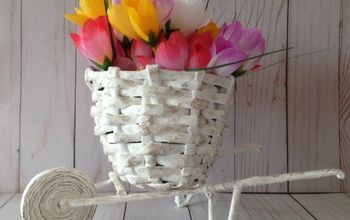 newspaper flower basket cart diy