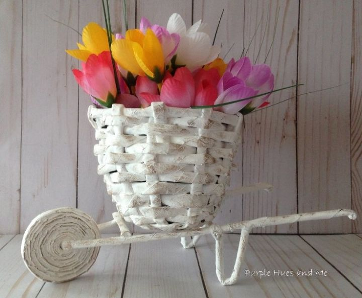 Newspaper flower basket cart diy hometalk newspaper flower basket cart diy mightylinksfo