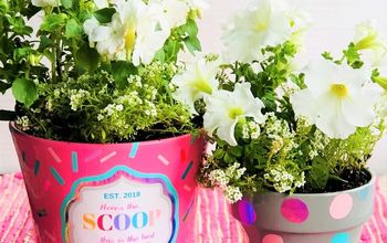 diy ice cream container flower pots