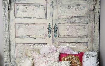 diy chippy shabby chic headboard, And she s done