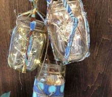 mason jars and twinkle lights as rustic front door decor