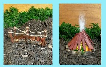 semi permanent indoor fairy gnome garden bonfire and bridge