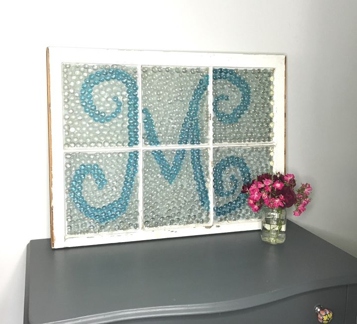 s 15 amazing ideas you can make with dollar store gems, Make a monogrammed window