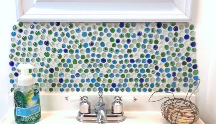 s 15 amazing ideas you can make with dollar store gems, Use them to make a mosaic backsplash