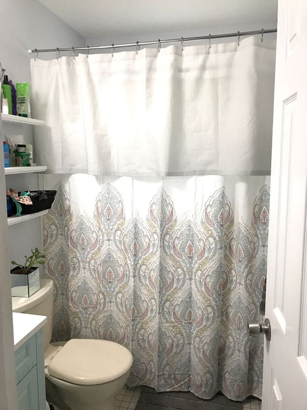 s 15 genius curtain ideas to instantly upgrade your space, Turn A Curtain Into A Shower Valence