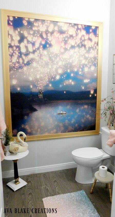 s 15 genius curtain ideas to instantly upgrade your space, Make A Disney Shower Curtain Into Framed Art