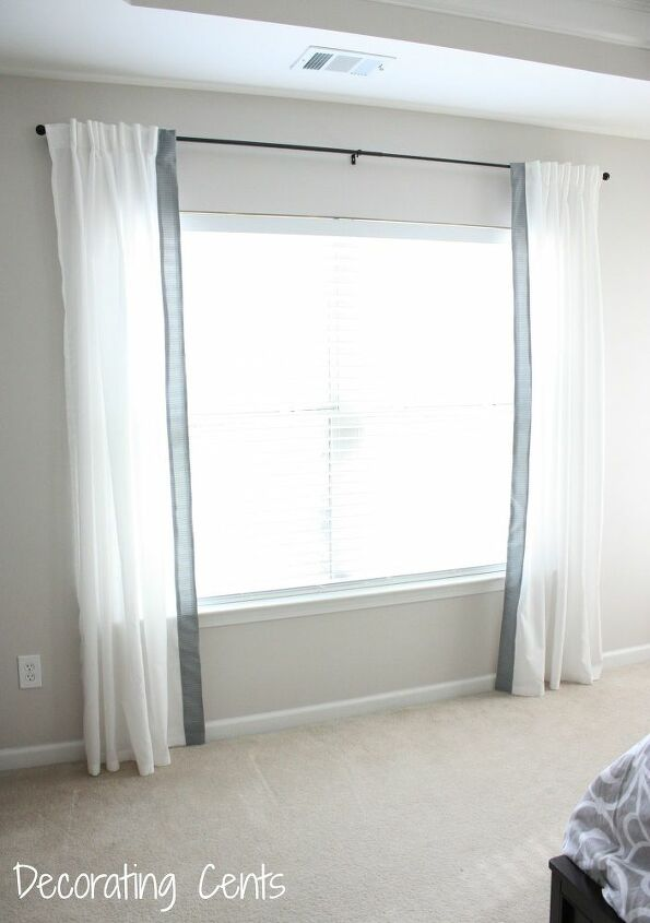 s 15 genius curtain ideas to instantly upgrade your space, Trim Fabric For A Contrast On Curtains