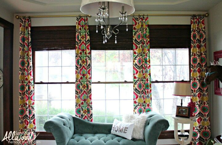 s 15 genius curtain ideas to instantly upgrade your space, Scrunch No Sew Fabric Into Vibrant Curtains