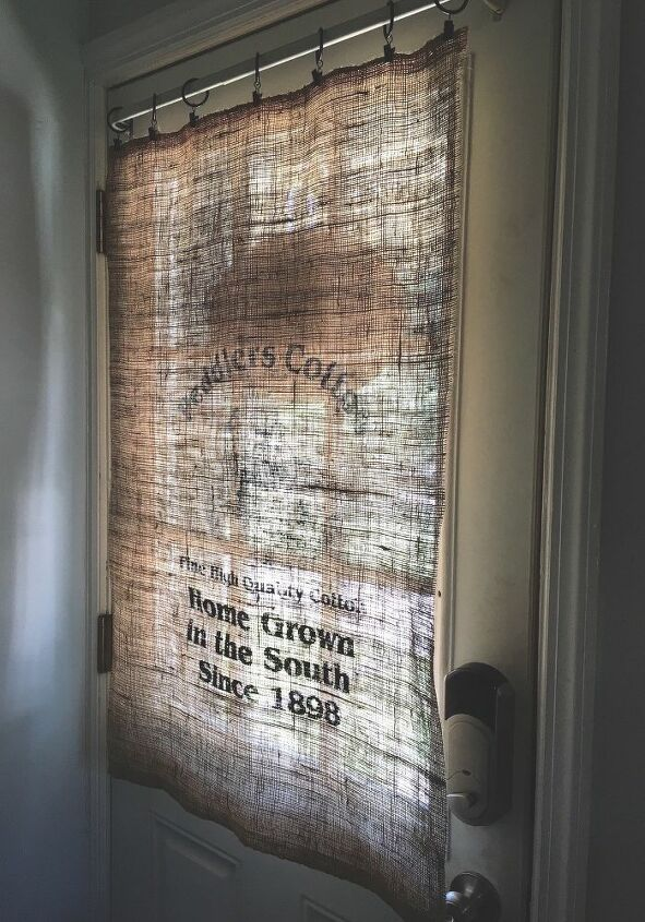 s 15 genius curtain ideas to instantly upgrade your space, Snip A Burlap Bag Into Your New Curtain