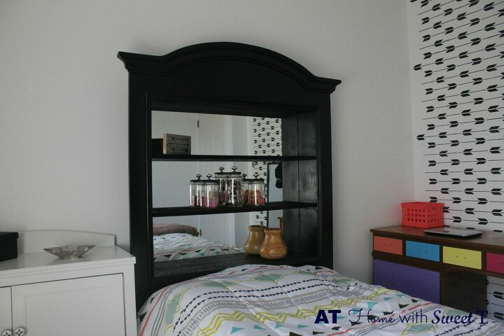 s 30 amazing furniture flips you have to see to believe, Vanity Mirror Turned Double Duty Headboard