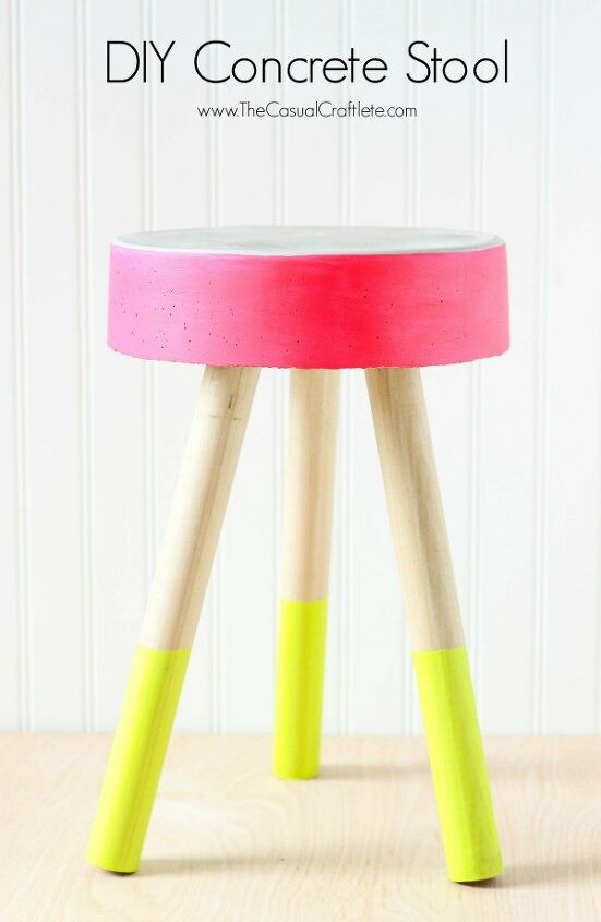 s 20 easy concrete projects that anyone can make, Adorable DIY Concrete Stool