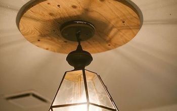 how to install a pendant light with a plywood medallion