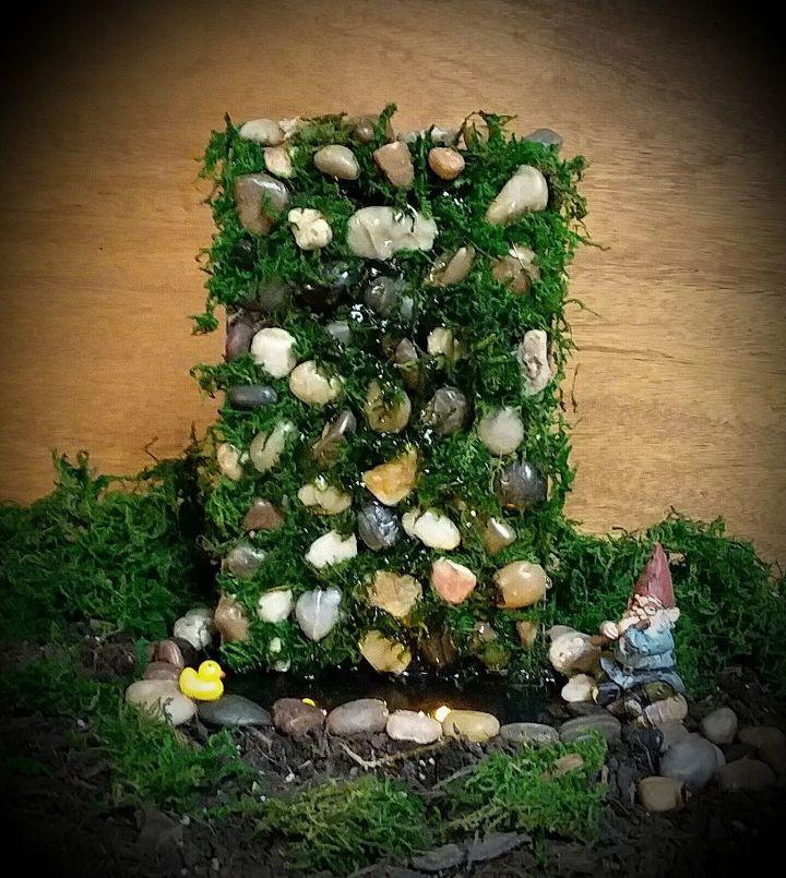 semi permanent indoor fairy gnome garden waterfall