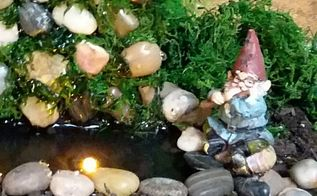 semi permanent indoor fairy gnome garden waterfall