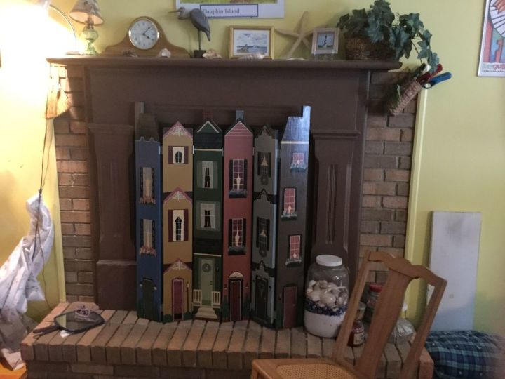 q fix a fireplace that is not centered in the brick