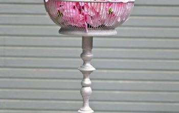 repurposing a thrift store candle holder and metal basket