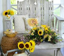 create a sunflower arrangement on a tray