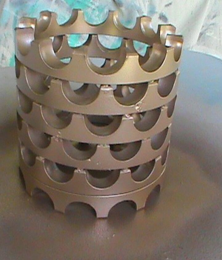 turn old motor parts into a candle holder or a vase