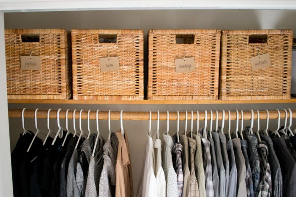 s 30 genius ways to make the most of your closet space, Streamline your storage with pretty baskets