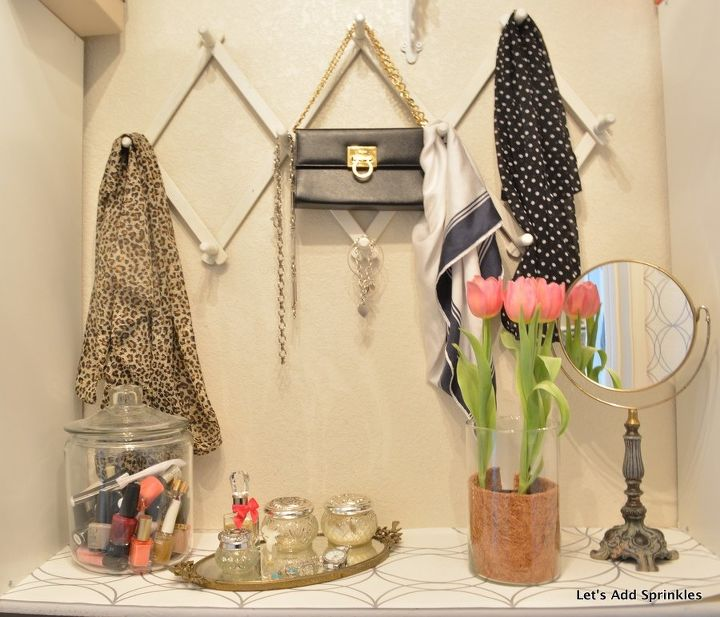s 30 genius ways to make the most of your closet space, Set aside space for a mini vanity and mirror