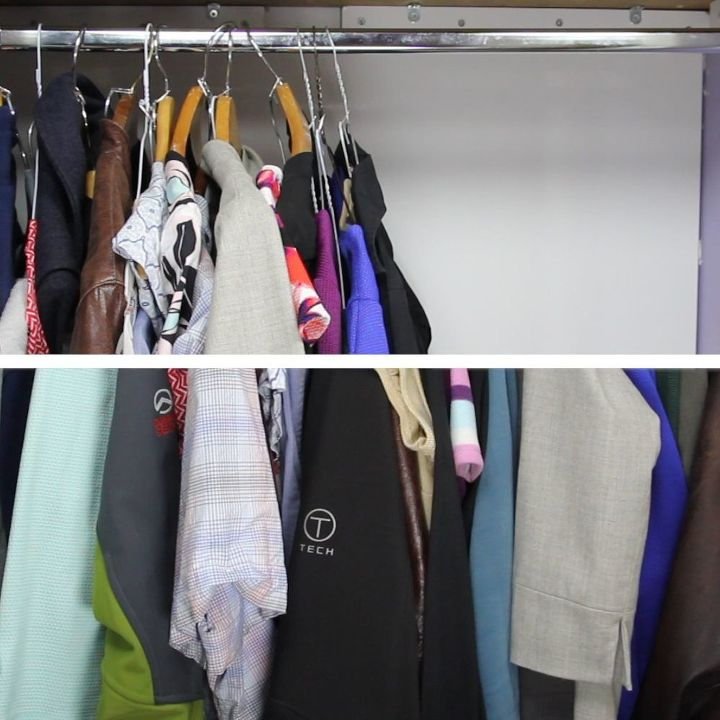s 30 genius ways to make the most of your closet space, Double up hangers with soda can tabs