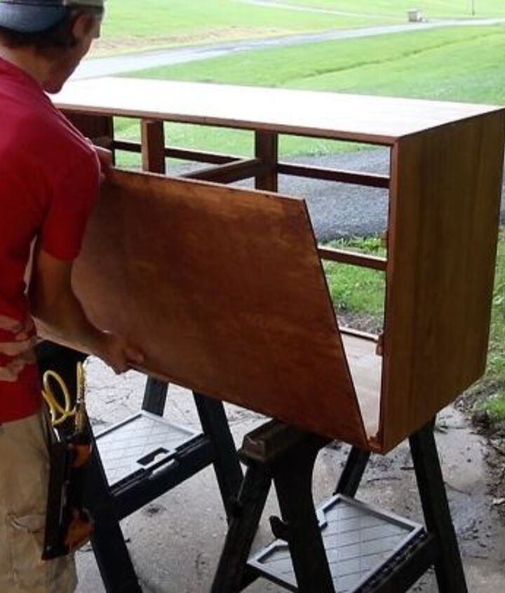 attaching the back to the dresser
