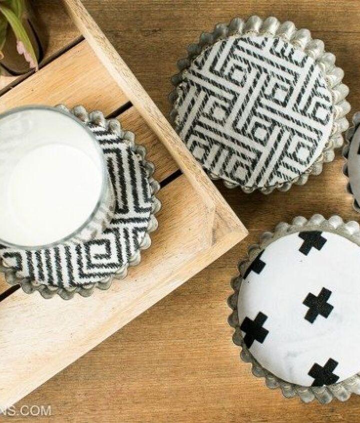 s 30 creative ways to repurpose baking pans, Turn tart tins into coasters
