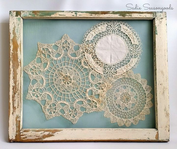 s 21 totally terrific things you can do with doilies, Display Them In A Salvaged Frame