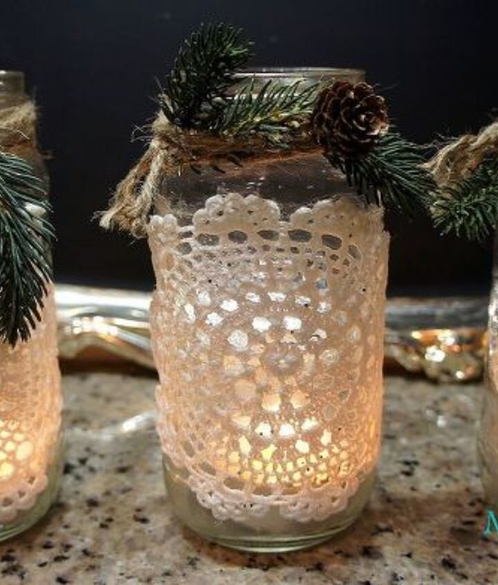 s 21 totally terrific things you can do with doilies, Make Them Into Jar Lanterns