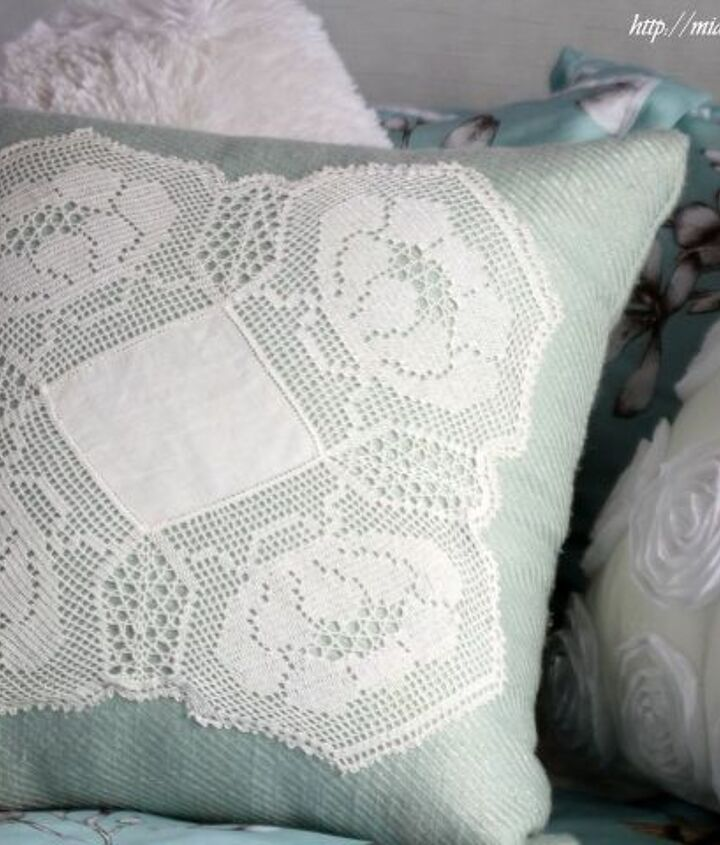 s 21 totally terrific things you can do with doilies, Sew It Onto A Cushion