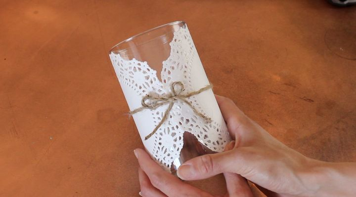 s 21 totally terrific things you can do with doilies, Stick It Onto A Glass Vase