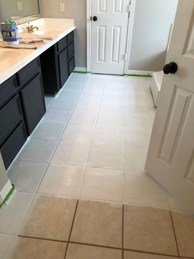 how to paint a faux tile floor