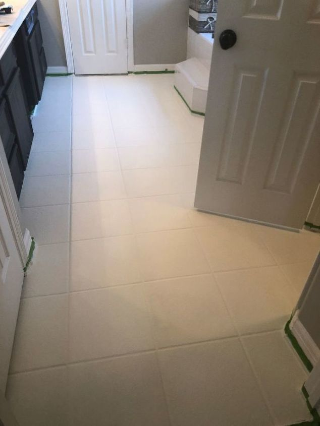 how to paint a faux tile floor