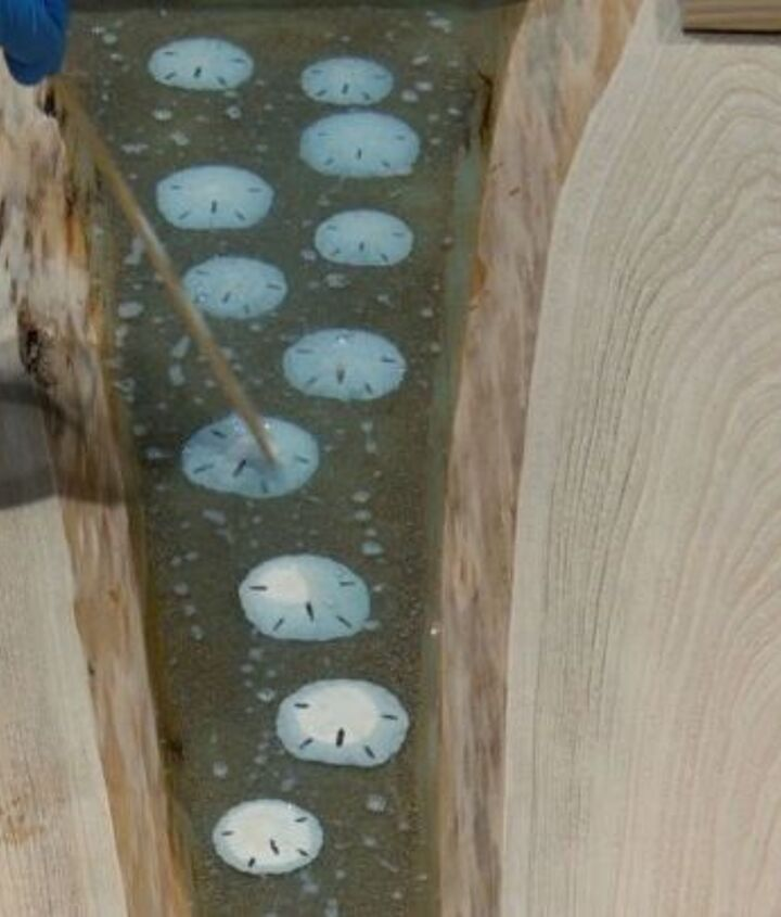 beach inspired river table with sand dollars glows in the dark